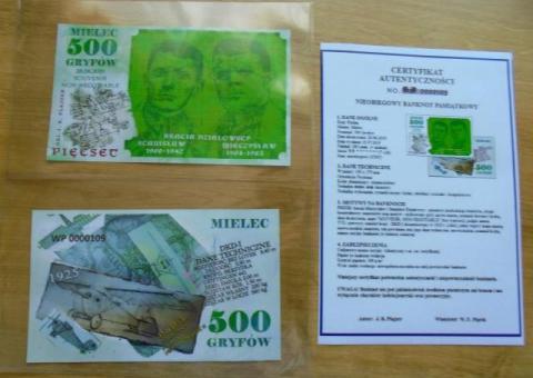 Nieobiegowy banknot pamiątkowy 500 GRYFÓW